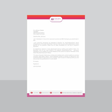 Retro Rustic and Pink Letterhead with Gradient Effect.