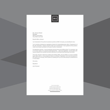 Minimal black and white Letterhead vector illustration.