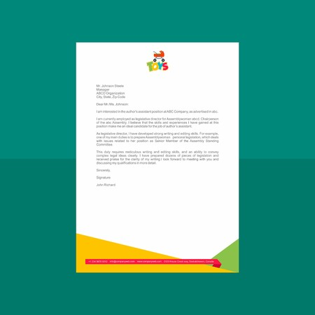 Playful Geometric Letterhead Design vector illustration.