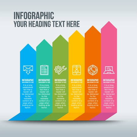 Colorful business infographic with rising bars