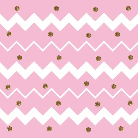 Pinkish White Zigzag Pattern with Gold Hexagons  イラスト・ベクター素材