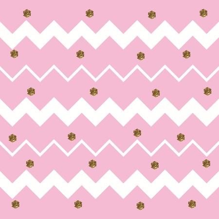 Pinkish White Zigzag Pattern with Gold Hexagons Ilustracja