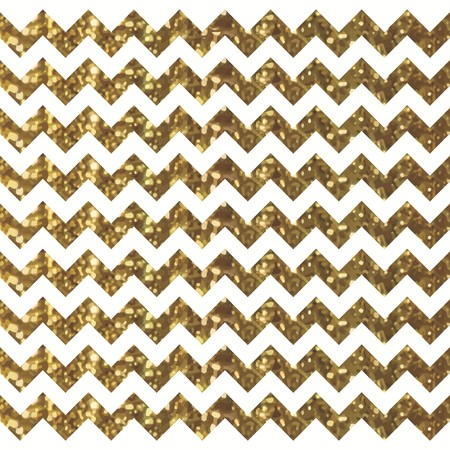 White Chevron Pattern with Sparkly Gold Effect