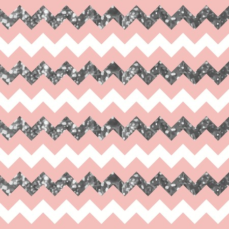 Pinkish White Zigzag Pattern with Sparkly Silver Effect  イラスト・ベクター素材