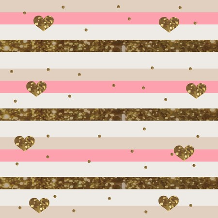 Pinkish White Striped Pattern with Sparkly Gold Hearts