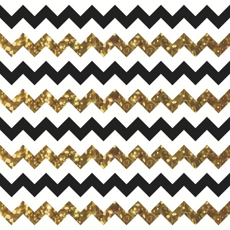 Glittery Gold Chevron Zigzag Pattern with Black and White Effect