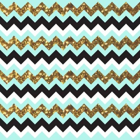 Glittery Gold Chevron Zigzag Pattern with Black and Aqua Feel