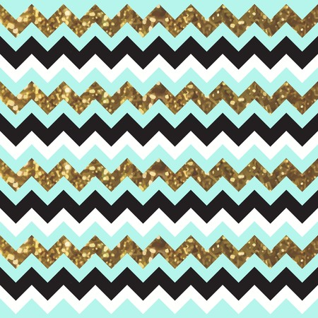 Glittery Gold Chevron Zigzag Pattern with Black and Aqua Feel