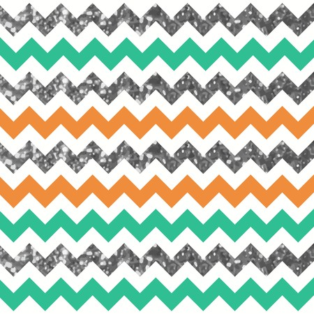 Multicolor Glam Zigzag Pattern with Silver Glitter Effect.