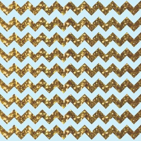 Aqua Zigzag Pattern with Glittery Gold Effect  イラスト・ベクター素材
