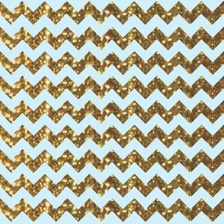 Aqua Zigzag Pattern with Glittery Gold Effect Ilustracja