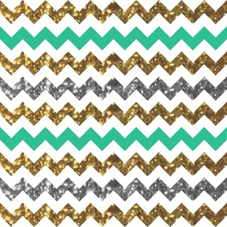 Jade Zigzag Pattern with Glittery Gold and Silver Effect