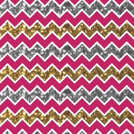 Cherry Zigzag Pattern with Glittery Gold and Silver Effect