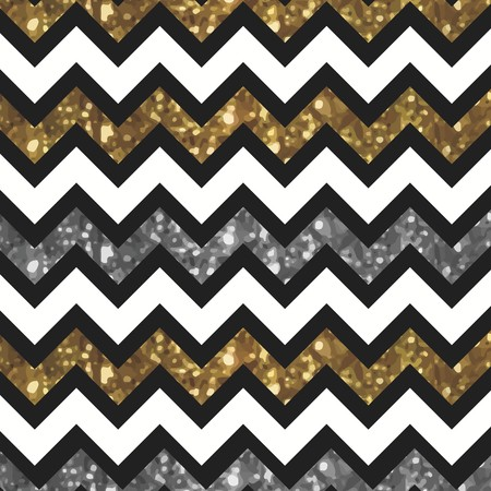 White Zigzag Pattern with Glittery Gold and Silver Effect Ilustracja