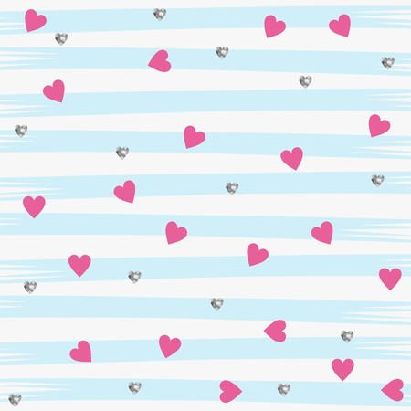 Little Pink and Silver Glitter Hearts on a Aqua Striped Pattern