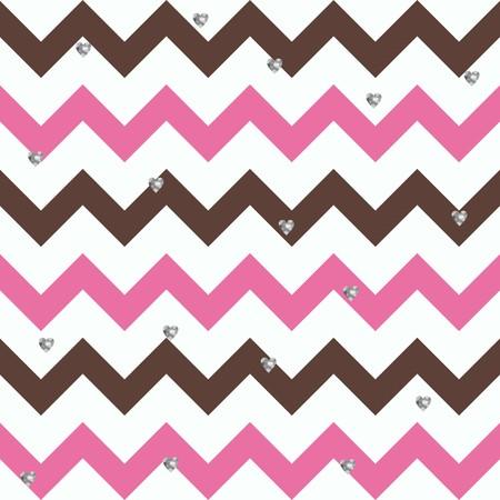 Bubblegum Chocolate Zigzag Pattern with Small Glittery Hearts