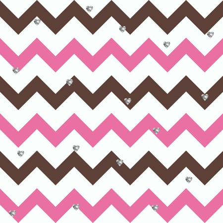 Bubblegum Chocolate Zigzag Pattern with Small Glittery Hearts