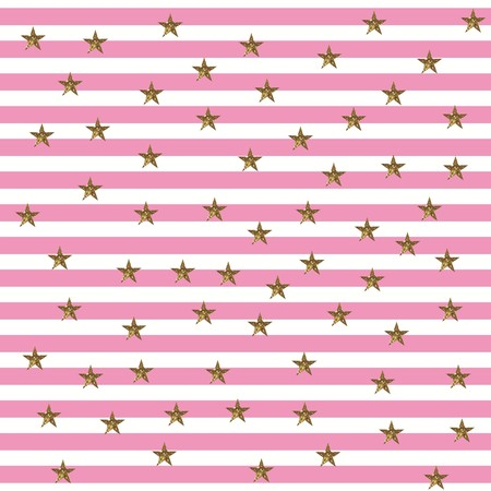 Starry Striped Pattern in Pink and Gold Shade