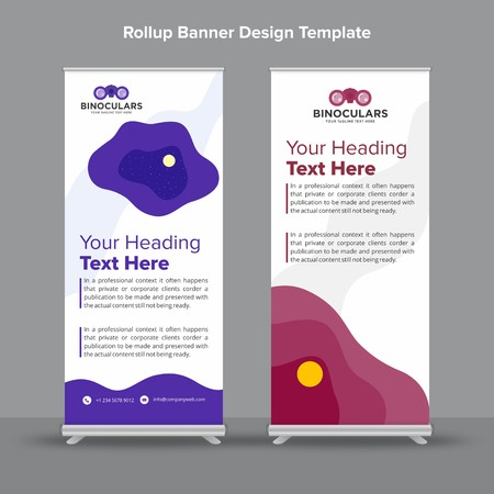 Rollup Banner with abstract purple and white shapes will take care of all your indoor and outdoor advertising needs or displaying promotional information.