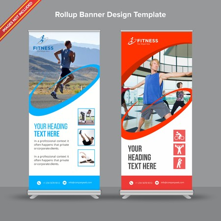 Rollup Banner with standard blue and Red shapes will take care of all your indoor and outdoor advertising needs or displaying promotional information. Ilustracja
