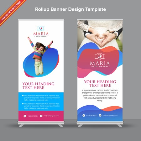 Rollup Banner with modern red and blue shapeswill take care of all your indoor and outdoor advertising needs or displaying promotional information.