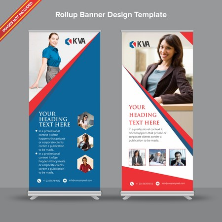 Rollup Banner with blue and red hexagonal shapes will take care of all your indoor and outdoor advertising needs or displaying promotional information. Ilustracja