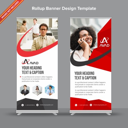 Rollup Banner with red and grey geometrical edge will take care of all your indoor and outdoor advertising needs or displaying promotional information.
