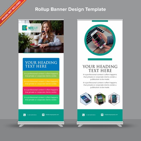 Rollup Banner with modern teal application look will take care of all your indoor and outdoor advertising needs or displaying promotional information.