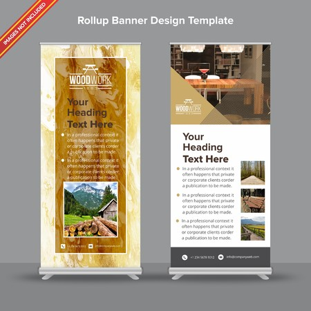 Rollup Banner with modern brown and mustard marble texture will take care of all your indoor and outdoor advertising needs or displaying promotional information.