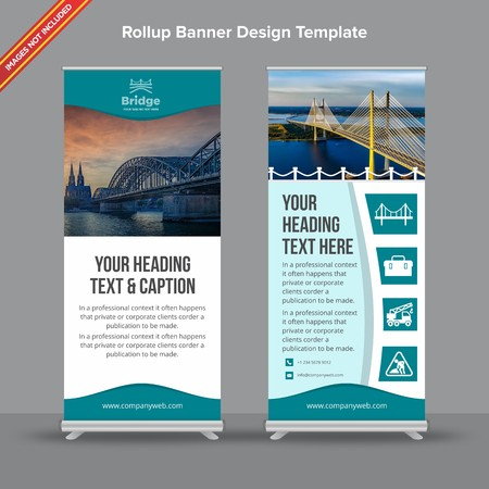 Rollup Banner with modern abstract shapeswill take care of all your indoor and outdoor advertising needs or displaying promotional information. Ilustracja