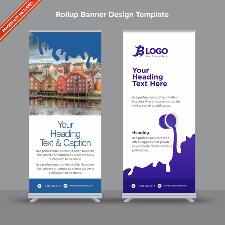Rollup Banner with flat indigo gooey effect will take care of all your indoor and outdoor advertising needs or displaying promotional information. Ilustracja