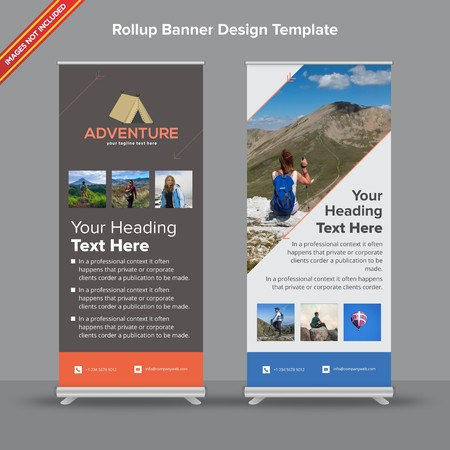 Rollup Banner with abstract orange shade will take care of all your indoor and outdoor advertising needs or displaying promotional information.  イラスト・ベクター素材