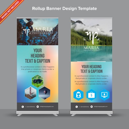 Rollup Banner with blue and pink mesh will take care of all your indoor and outdoor advertising needs or displaying promotional information.