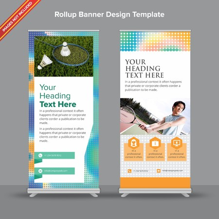 Rollup Banner with mesh duotoneswill take care of all your indoor and outdoor advertising needs or displaying promotional information. Ilustracja