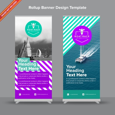 Rollup Banner with bright purple and mint shapes will take care of all your indoor and outdoor advertising needs or displaying promotional information.