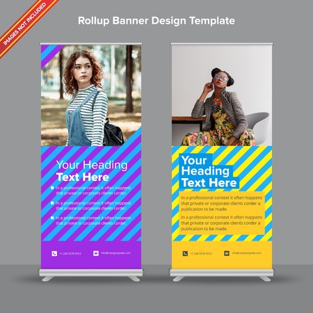Rollup Banner with modern duotones and overlapping text will take care of all your indoor and outdoor advertising needs or displaying promotional information.