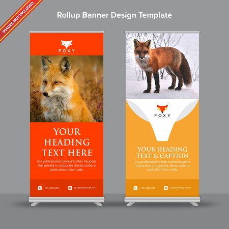 Creative Rollup Banner with Rusty orange look Ilustracja