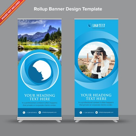 Rollup Banner with blue circular gradients will take care of all your indoor and outdoor advertising needs or displaying promotional information. Ilustracja
