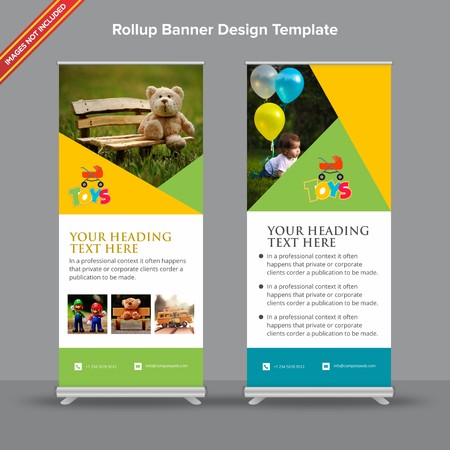 Rollup Banner with playfull geometric design will take care of all your indoor and outdoor advertising needs or displaying promotional information. Ilustração
