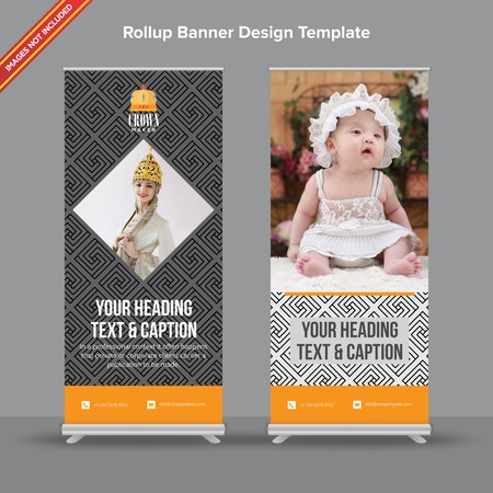 Rollup Banner with modern grey geometrical shapes will take care of all your indoor and outdoor advertising needs or displaying promotional information.