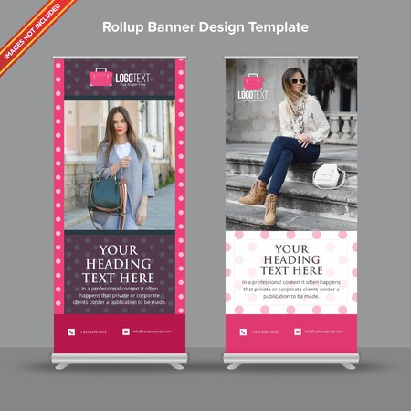 Rollup Banner with tiny pink polka dots will take care of all your indoor and outdoor advertising needs or displaying promotional information.