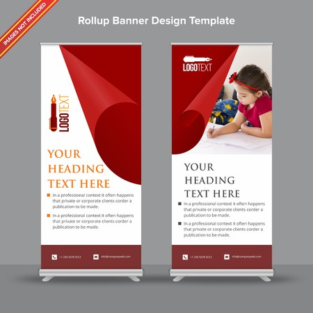 Rollup Banner with velvet red tone will take care of all your indoor and outdoor advertising needs or displaying promotional information. Ilustracja
