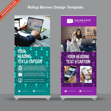 Rollup Banner with geometrical jade and lilac shapes will take care of all your indoor and outdoor advertising needs or displaying promotional information. Ilustracja