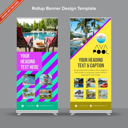 Rollup Banner with geometrical neon shades will take care of all your indoor and outdoor advertising needs or displaying promotional information. Ilustracja