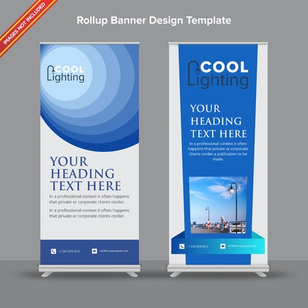 Rollup Banner with corporate blue abstract shapes will take care of all your indoor and outdoor advertising needs or displaying promotional information.  イラスト・ベクター素材