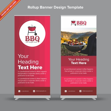 Rollup Banner with gradient cherry shades will take care of all your indoor and outdoor advertising needs or displaying promotional information.