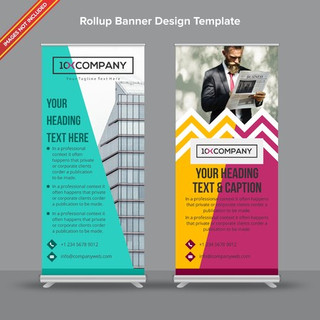 Rollup Banner in multicolored chevron with artistic shapes will take care of all your indoor and outdoor advertising needs or displaying promotional information.
