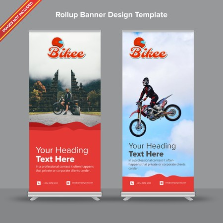 Rollup Banner with artistictic red waves will take care of all your indoor and outdoor advertising needs or displaying promotional information.