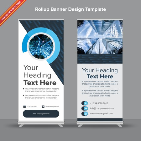 Cutting Edge Rollup Banner in Denim and Sapphire Blue 写真素材