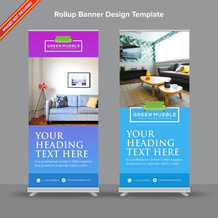 Linear Gradient Rollup Banner in Aqua and Violet Shades 写真素材